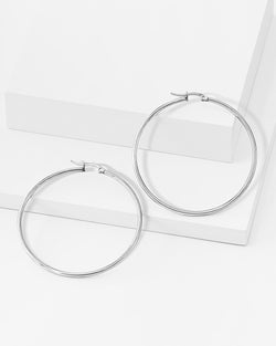 Remi Hoop Silver Earrings
