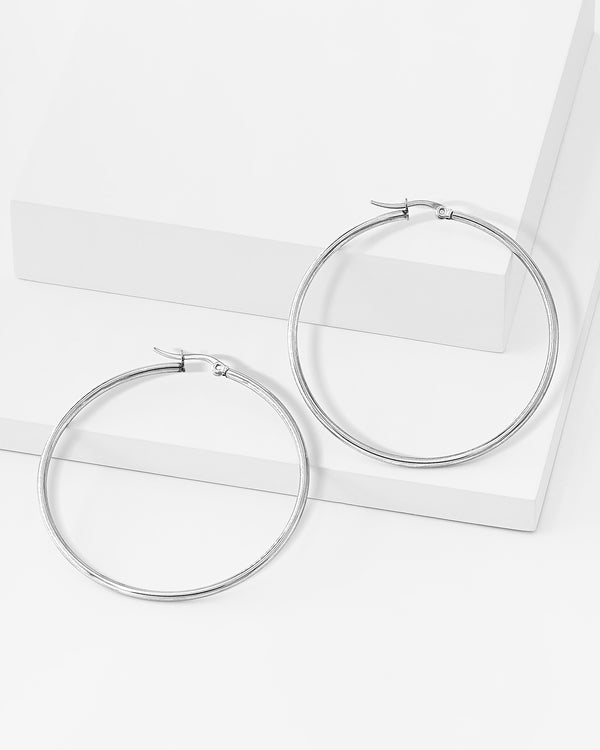 Remi Hoop Silver Earrings, Stainless Steel