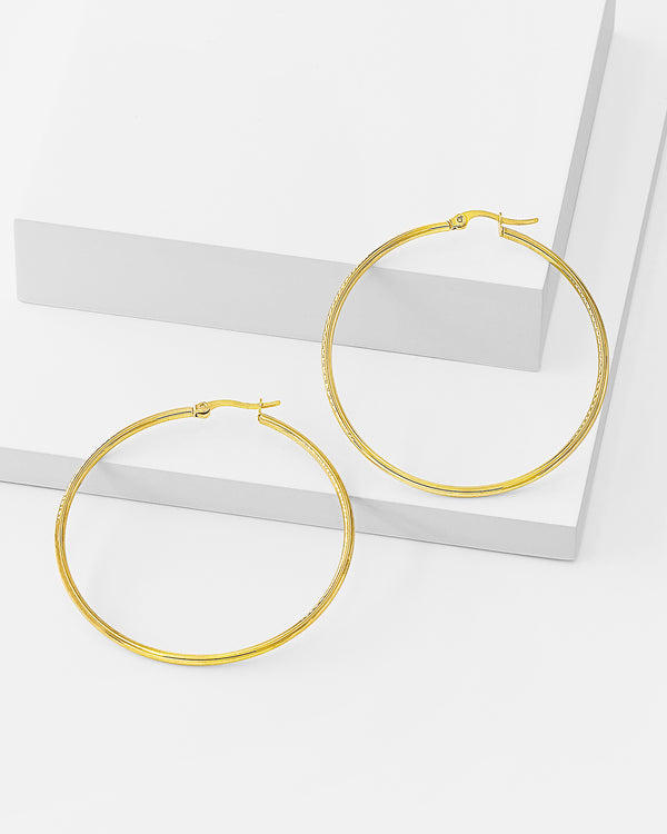 Remi Hoop Gold Earrings, Stainless Steel