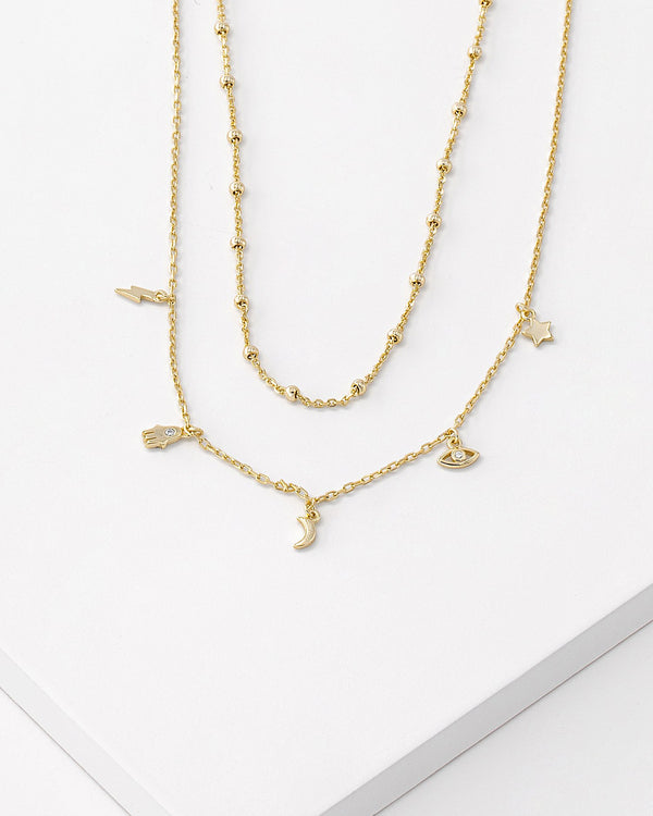 Lara Layered Charm Necklace