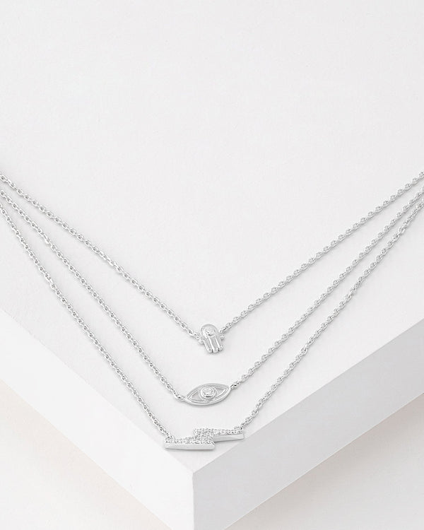 Jenna Layered Charm Necklace, Sterling Silver, CZ Stone
