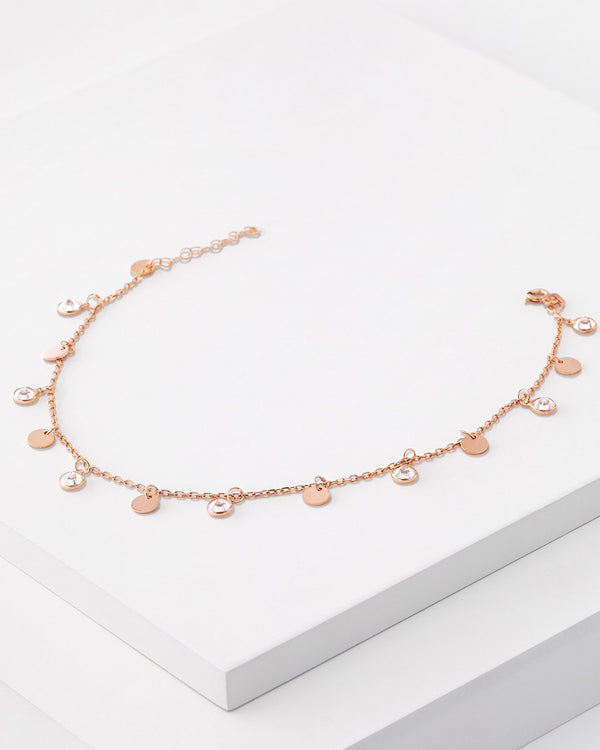 Lucia Anklet, Sterling Silver, CZ Stone