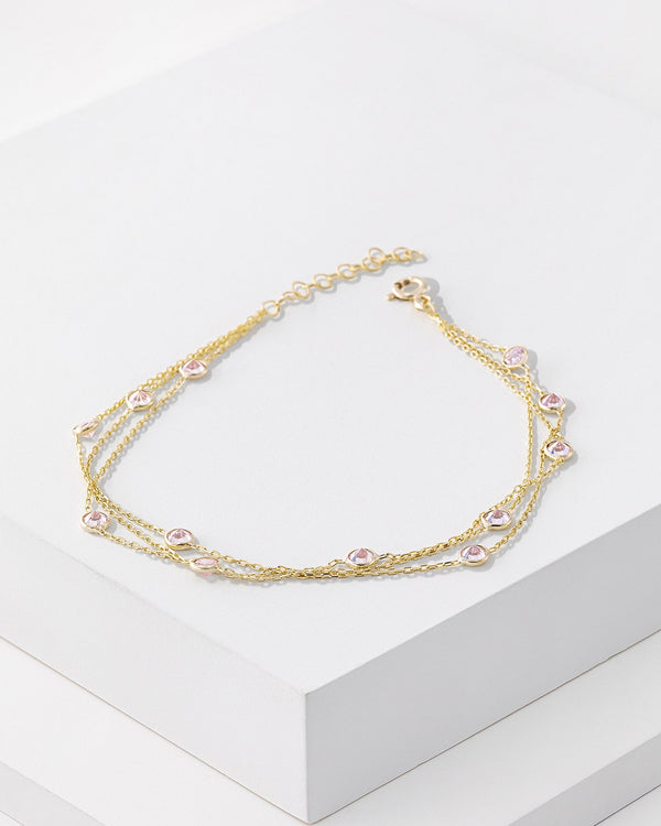 Audrey Anklet, Sterling Silver, CZ Stone
