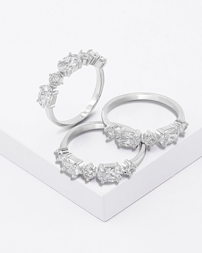 Adele Stackable Ring Set, Sterling Silver, CZ Stone