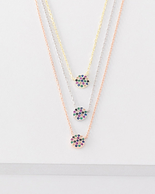 Gia Rainbow Layered Necklace, Sterling Silver, CZ Stone