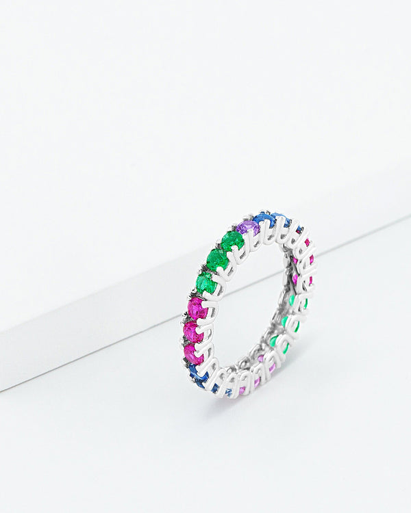 Masie Rainbow Band Ring, Sterling Silver, CZ Stone