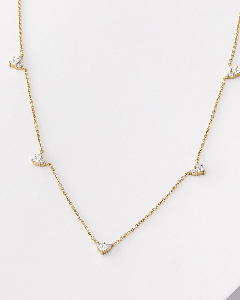 Raya Heart Gold Necklace, Sterling Silver, CZ Stone