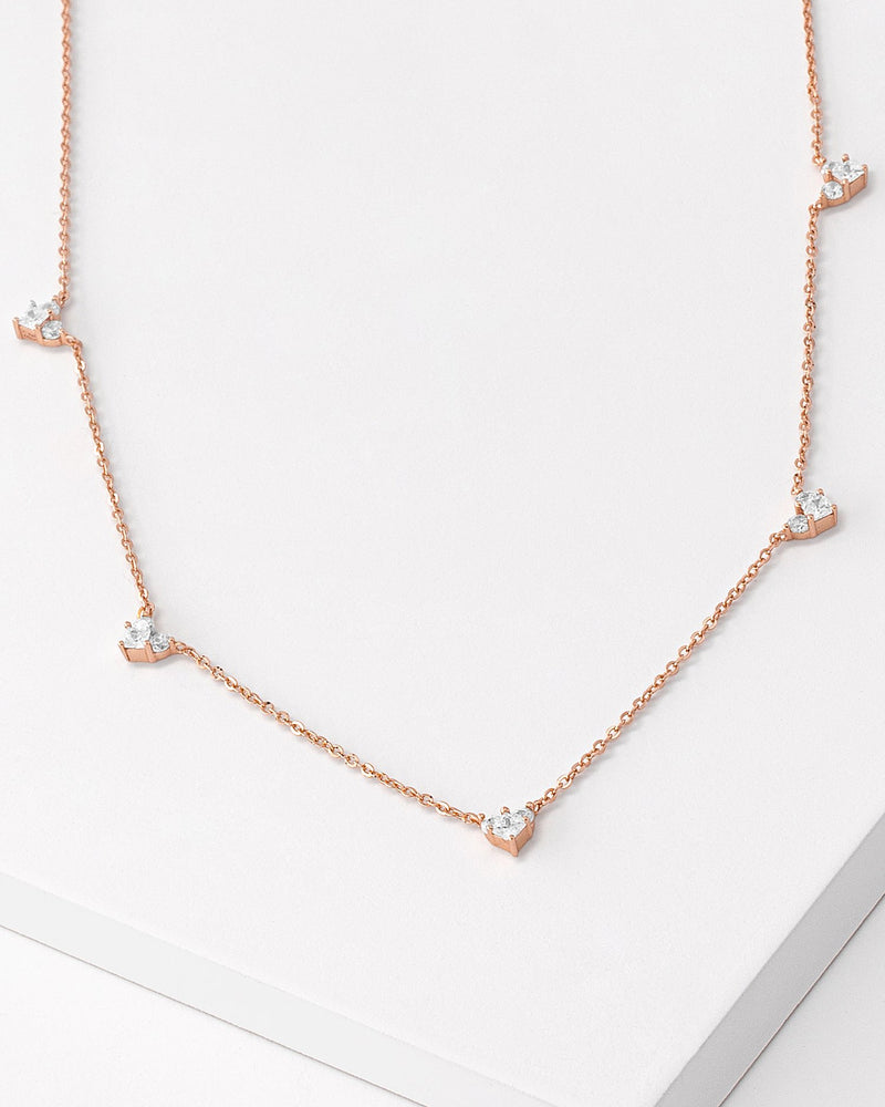 Raya Heart Rose Gold Necklace, Sterling Silver, CZ Stone