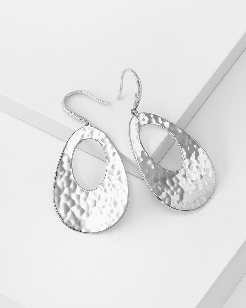 Anna Hammered Drop Earrings, Sterling Silver