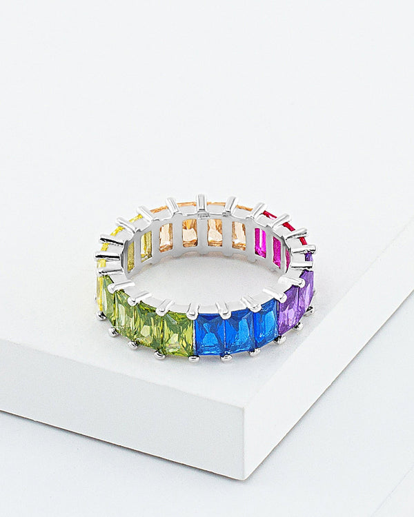 Alexa Rainbow Band Ring, Sterling Silver, Baguette CZ Stone