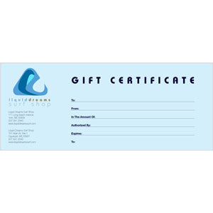 $250 Liquid Dreams Gift Certificate