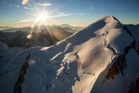 Mont Blanc Summit as the sun rises over the Jorasses