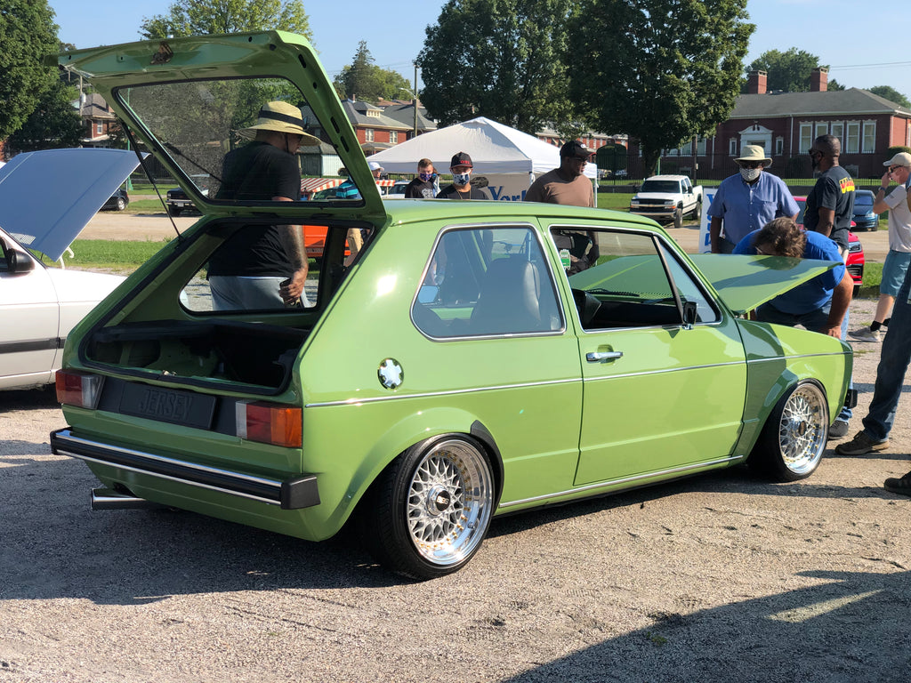 light olive green vw mk1 golf bbs rs stance