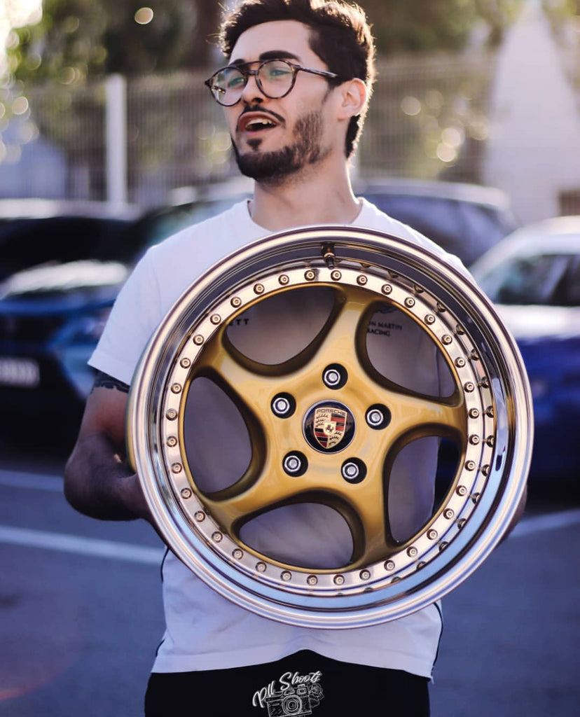 larrin with porsche multi piece wheels gold