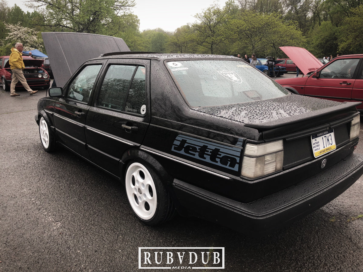 mk2 jetta on white porsche wheels with clear tail lights