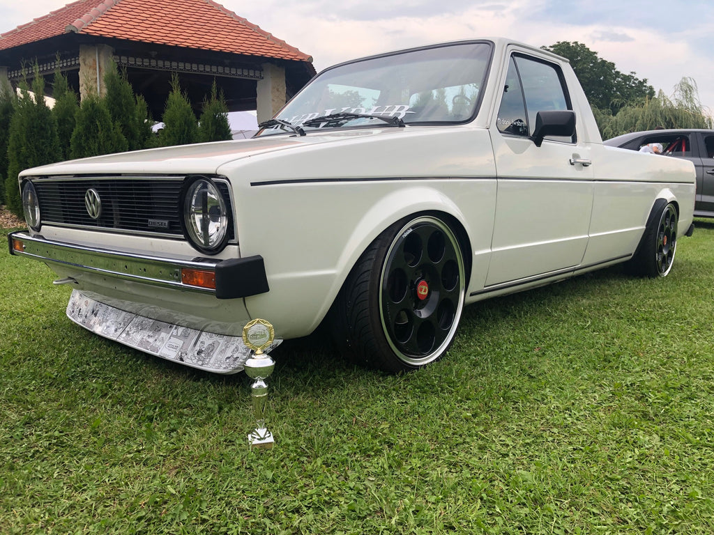 vw mk1 caddy front lip splitter donald duck custom stickerbomb