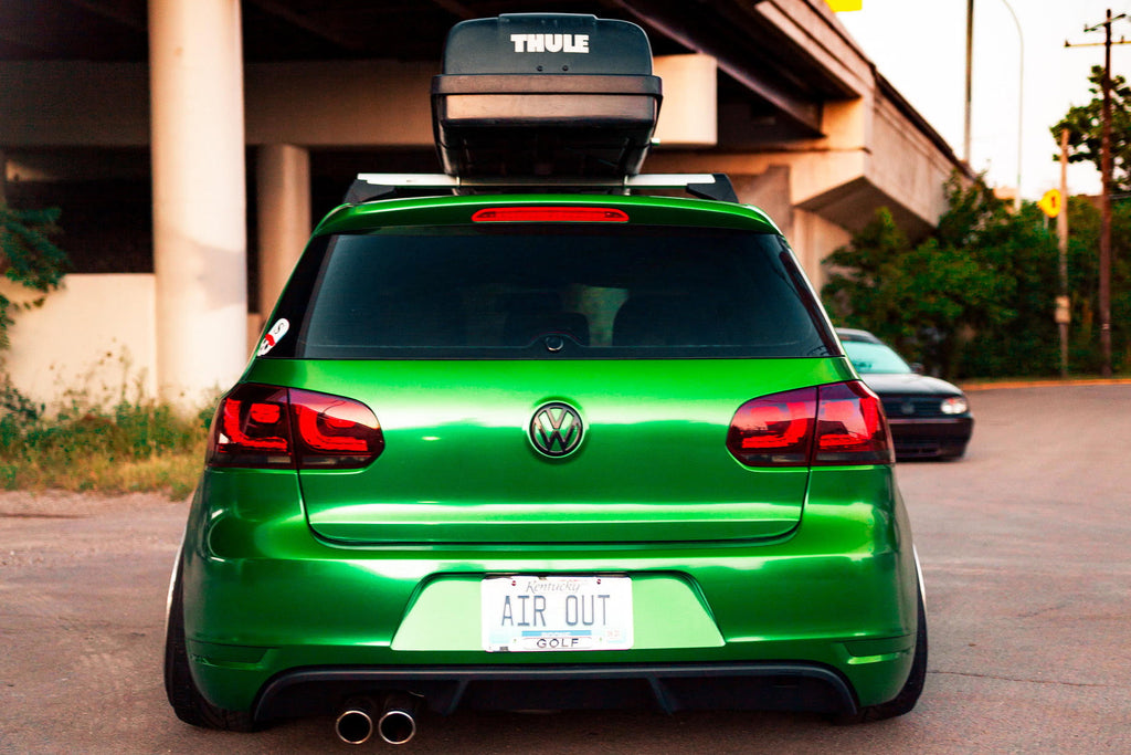 bagged green mk6 stance rear