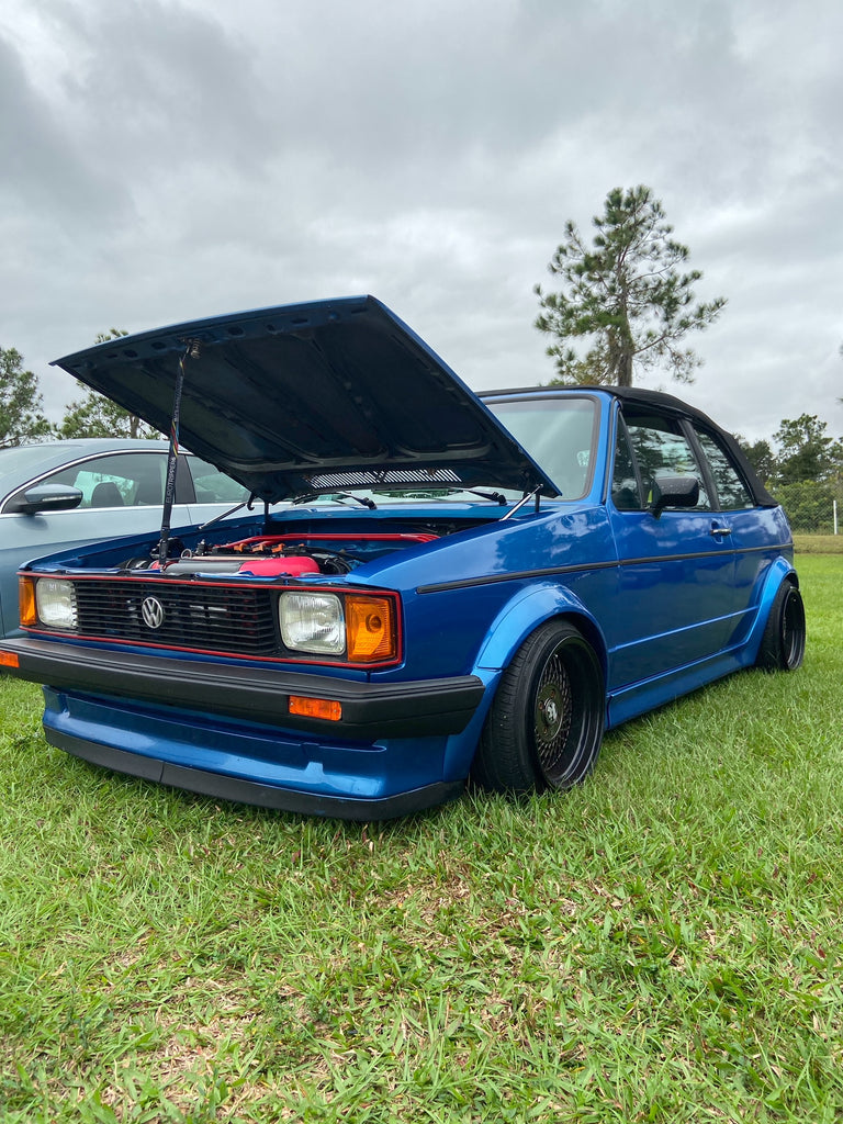 blue vw mk1 golf cabby wide stance