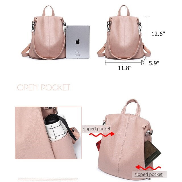 97e7d9f16f4a Women Luxe Fashion PU Leather Anti Theft Backpack Purse