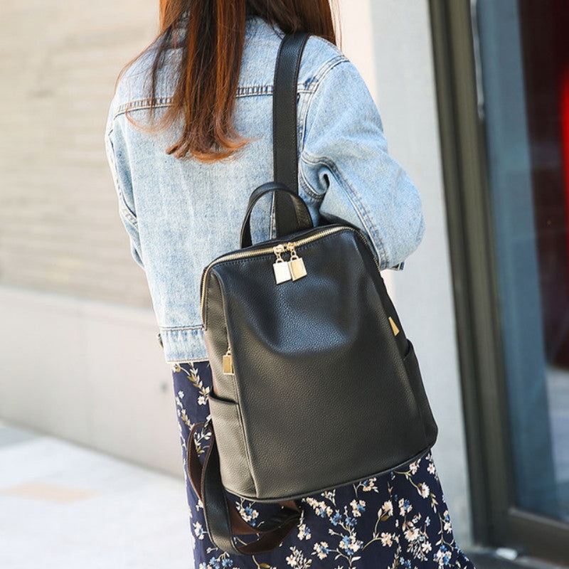 435994baa ... Sophisticated Gold Accented Designer PU Leather Backpack Purse - 2  colors available - XperienceAccessories.com ...