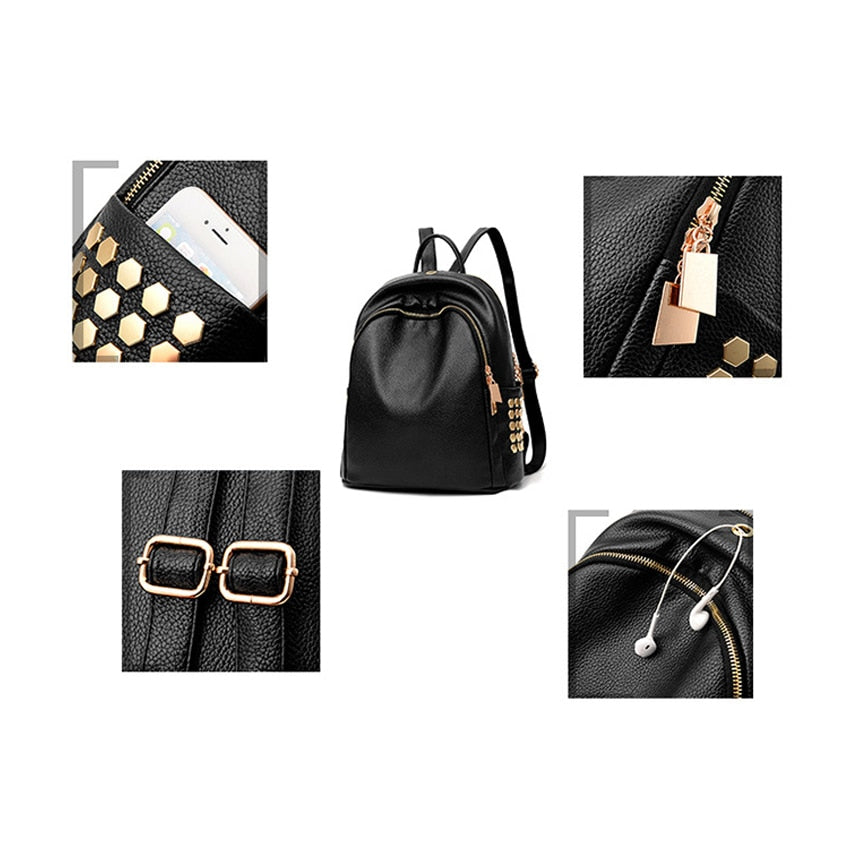 948daad80 ... Gold Accented PU Leather Professional Designer Backpack Purse -  XperienceAccessories.com ...