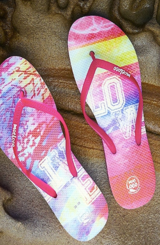 Moeloco Flip Flops - Live Love (pink/pink was $40 now $20