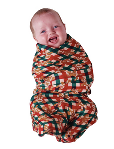 Bamboo Swaddle - Tartan Gingerbread was $35 now 50% off