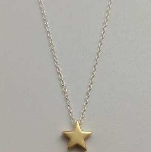 Necklace - Sterling silver - Gold Star Charm - 50% off, now