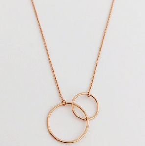 Necklace - Rose gold plated / sterling silver - 2 circles - 50% off, now