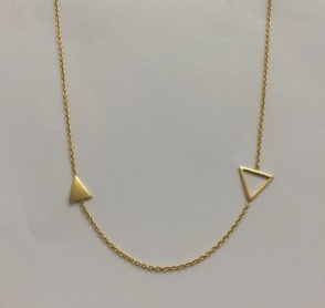 Necklace - Gold plated / sterling silver - 2 triangles - 50% off, now