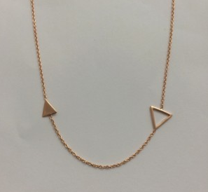 Necklace - Rose gold plated / sterling silver - 2 triangles - 50% off, now