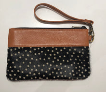 Leather and cowhide clutch - Polka Hairon and Tan Leather 20% OFF NOW