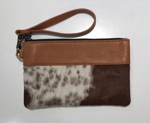 Leather and cowhide clutch - Jersey Hairon and Tan Leather