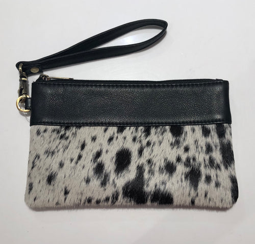 Leather and cowhide clutch - Jersey Hairon and Black Leather