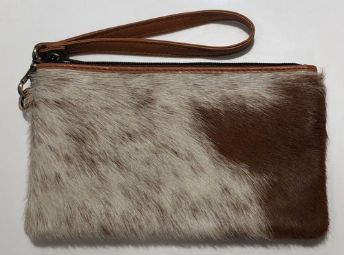 Cowhide clutch - Jersey Hairon and Tan Leather 40% OFF NOW