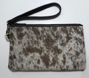 Cowhide clutch - Jersey Hairon and Chocolate Leather