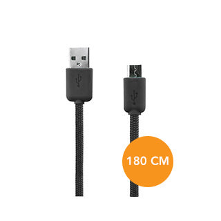 Micro USB Xqisit Black Charge and Sync Cotton Cable (180cm)