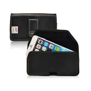 iPhone 8 Plus/7 Plus Turtleback Black Leather Executive Horizontal Belt Clip - XLarge