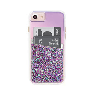 Universal Case-mate Silver Glitter ID Pocket