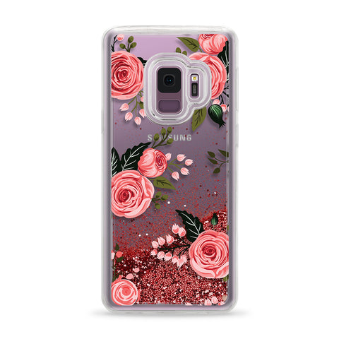 Casetify  CTF4139590530822 Glitter Case Pink Floral Rose for Galaxy S9