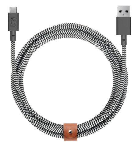 Native Union  BELTKVACZEB3 Charge/Sync USB-C Belt Cable 10ft Zebra
