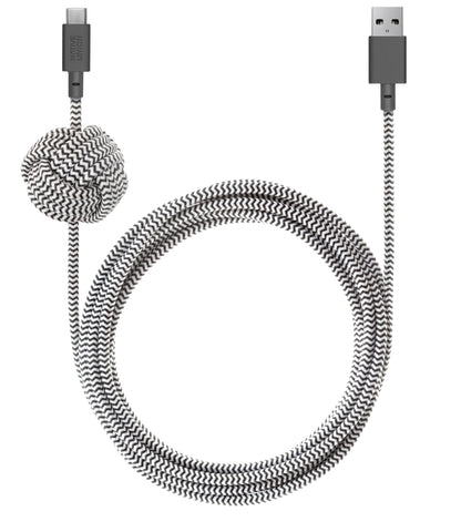 Native Union  NCABLEKVACZEB Charge/Sync USB-C Night Cable 10ft Zebra
