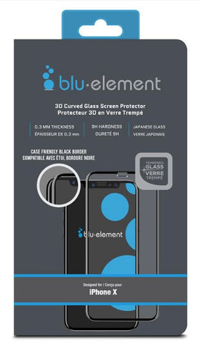 Blu Element  BTIPH8CE 3D Curved Glass Case Friendly iPhone XS/X Black
