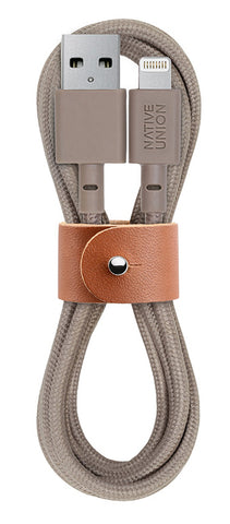 Native Union  BELTKVLTAU2 Charge/Sync Belt Cable Lightning 4ft. Taupe