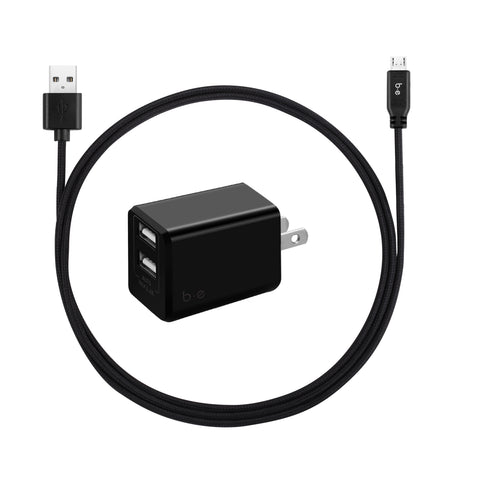 Blu Element  BKTLMIC Wall Charger Dual USB 3.4A w/ Micro USB Cable Black