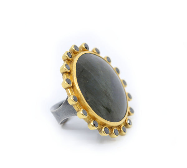 Extra Large Labradorite and Black Diamond Ring