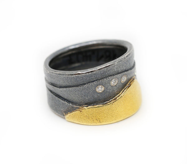 Sterling Silver and Yellow Gold Ring with Diamonds