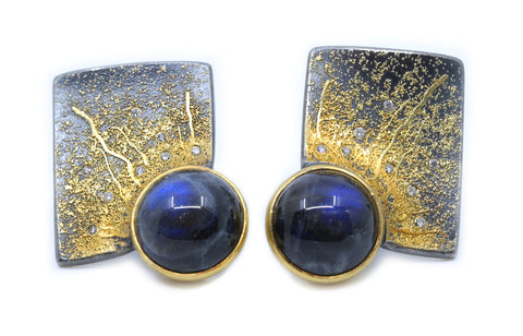 Square Spectrolite Earrings