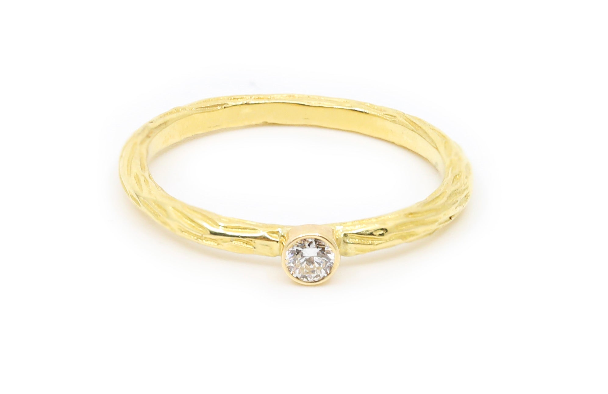 18k Yellow Gold with 0.10ct White Diamond Stacker Ring