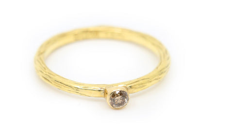 Cognac Diamond Gold Stacker Ring